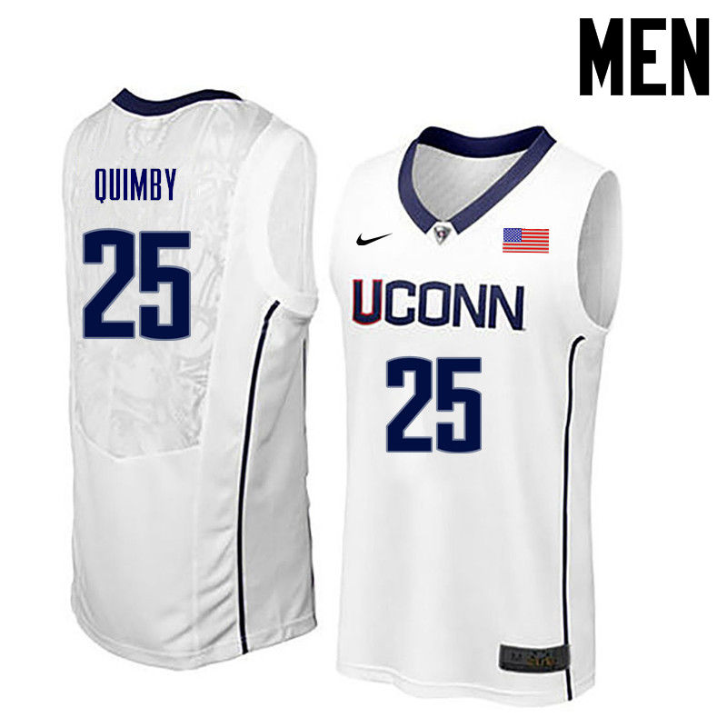 Men Uconn Huskies #25 Art Quimby College Basketball Jerseys-White